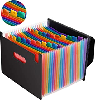 Magicfly Expandable File Folder with Lid, 24 Pocket Accordion File Organizer, A4 Letter Size Portable Rainbow Document Organizer with Guides, Multi-Color File Wallets Stand Bag for Office, Business