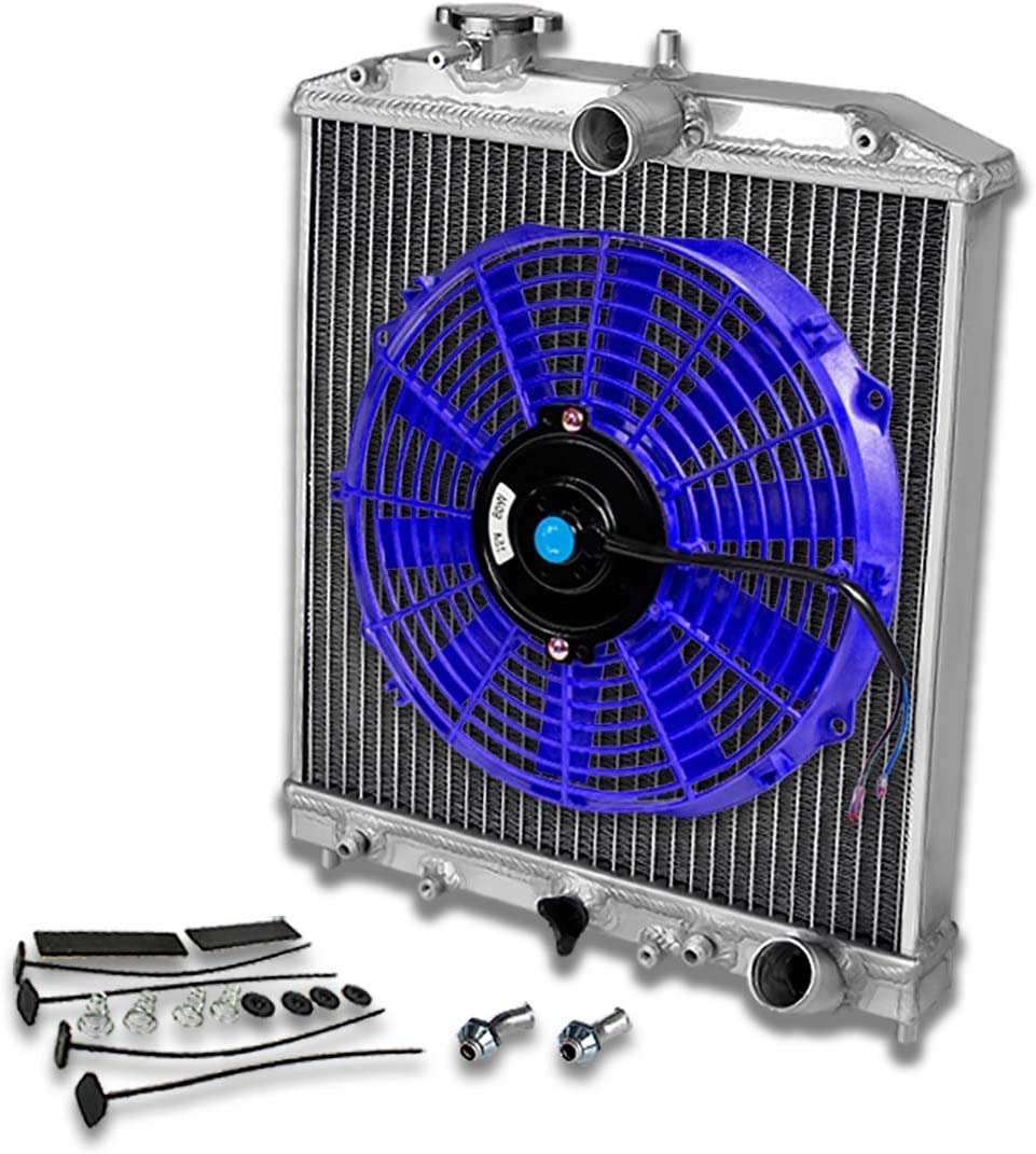 Replacement for Civic//Del Sol//Integra 2-Row 42mm Racing Radiator+10 inches Blue Fan+Mounting Kit