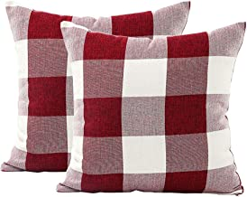 Classic Retro Checks Red White Buffalo Plaids Style Cotton Linen Decorative Throw Pillow Covers Square 18x18 Inches 45 x 45 cm, Set of 2