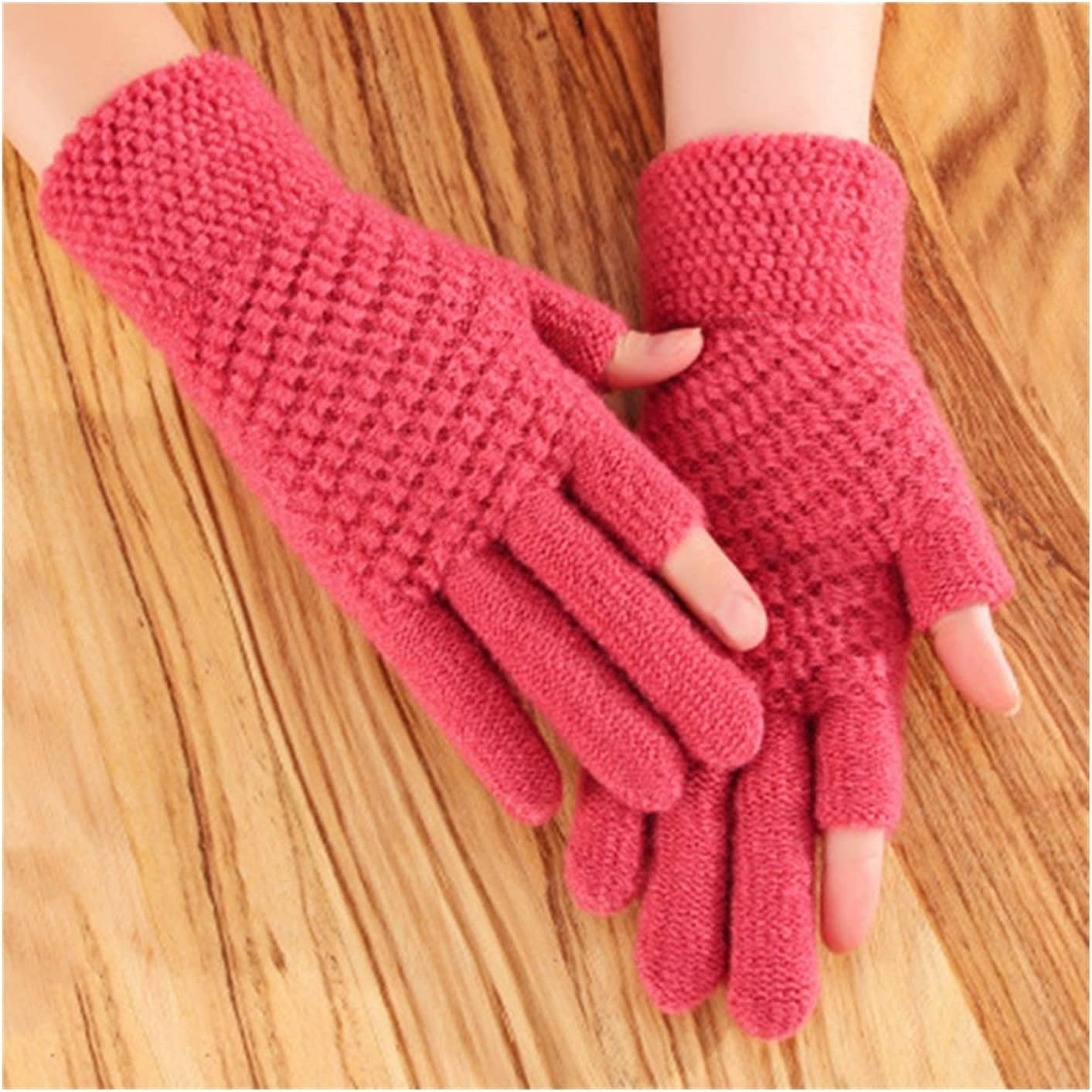 JBIVWW Unisex Half-Finger Cycling Mittens Women Winter Warm Thick Knit Fingerless Writing Touch Screen Driving Gloves (Color : Skin Red)