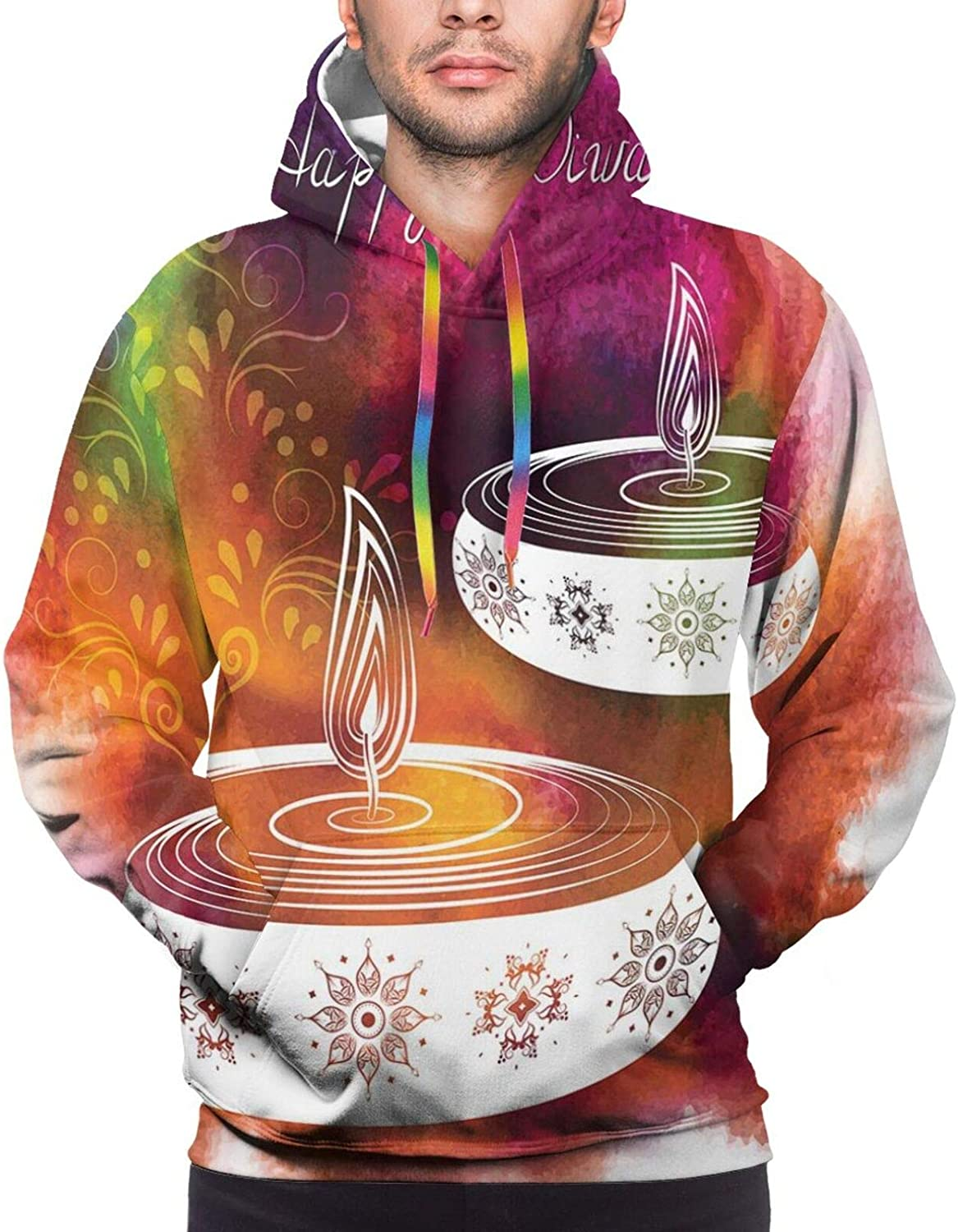 Men's Hoodies Sweatshirts,Abstract Puzzle Style Trippy Fractal Creative Overlapping Color Forms Design
