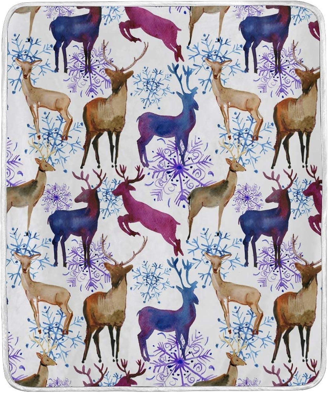 Vantaso Blankets Watercolor colorful Deer Snowflake Throws Soft Kids Girls Boys 50x60 inch