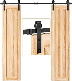 "EaseLife 6.6 FT Double Door Sliding Barn Door Hardware Track Kit,Heavy Duty,Easy Install,6.6FT One Piece Track,Slide Smoothly Quietly,Fit Double 20"" Wide Door (6.6FT Track Double Door Kit)"