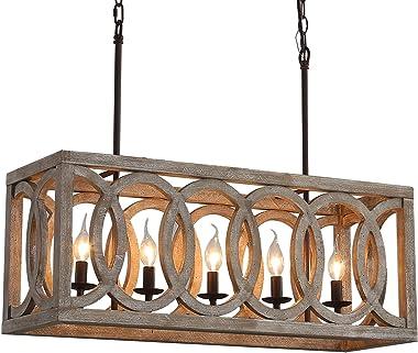 "Farmhouse Wooden Chandeliers for Dining Rooms 5-Light Rustic Kitchen Island Chandeliers, Wood Rectangular Chandeliers 30"" Len"