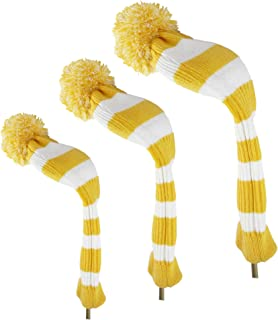 Hauni Stripes Knitted Golf Club Head Covers 3 Piece Set, Numbered 1 3 5 Driver and Fairway Headcovers Fits 460cc Drivers,Yellow&White