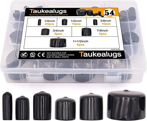 54pcs Black Pipe Post Bolt Screw Rubber Thread Protector Cover Vinyl Tube End Caps,Assorted 1/4-inch to 1 1/2-inch-6 ...