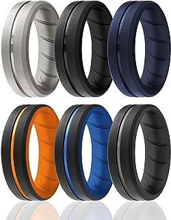 حلقه های سیلیکونی مردانه ROQ 1/2/3/4/6 چند بسته بندی حلقه های عروسی لاستیکی سیلیکونی مردانه قابل تنفس - مجموعه DUO