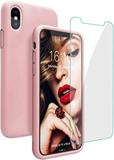 JASBON Compatible with iPhone Xs Max Case, Liquid Silicone Shockproof Phone Cover with Free Screen Protector for Apple iPhone 10xs Max 6.5 inch -Pink Sand