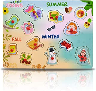 Wooden Peg Puzzle, 4 Seasons - Learning Educational Pegged Puzzle for Toddler & Kids (12 pcs) Gleeporte