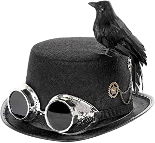 Steampunk Top Hats with Crow and Decorative Glasses, Adult Unisex Halloween Cosplay Top Hat, Retro Style Cap Props for Halloween Party, Role Playing, Photography