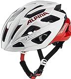 ALPINA Unisex - Erwachsene, VALPAROLA Fahrradhelm, white-red gloss, 51-56 cm