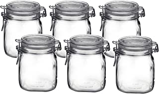 Bormioli Rocco Fido Clear Glass Jar with 85 mm Gasket.75 Liter (6 Pack), (Pack of 6)