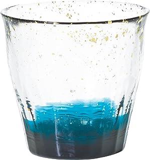 アデリア 津軽びいどろ ロックグラス ダークブルー 300ml 氷華金彩 オールドグラス 碧 専用木箱入 日本製 F71467