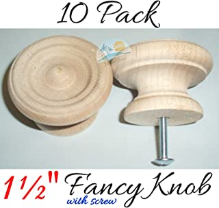 "10-1 1/2"" - Fancy Milled Wood Knob Cabinet Pulls/Drawer Knob with Screw Unfinished Round Knobs for Cabinets Drawer Knobs Wood Knob"