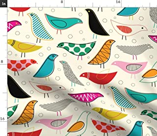 Spoonflower Fabric - Mod, Rainbow, Bird, Baby Nursery, Scandinavian, Gender Neutral, Printed on Petal Signature Cotton Fabric by The Yard - Sewing Quilting Apparel Crafts Decor