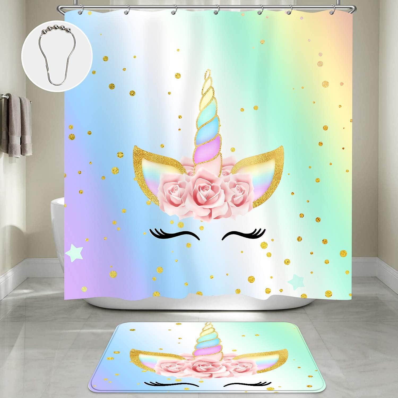 2 Pcs SALENEW very popular! Unicorn Shower Curtain C Ranking TOP10 Rainbow Fabric Set