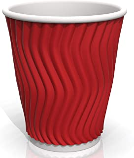 12 oz Red Coffee Ripple Paper Cups - for Coffee Tea and cold Drinks