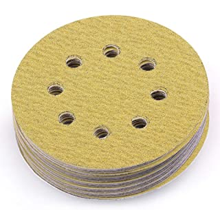 LotFancy 5-Inch 8-Hole 80 Grit Dustless Hook-and-Loop Sanding Disc Sander Paper, Pack of 100