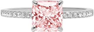 1.66ct Brilliant Asscher Cut Solitaire with Accent Pink Simulated Diamond Ideal VVS1 Engagement Promise Anniversary Bridal Wedding Ring Real 14k White Gold