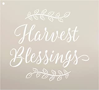 (28cm x 25cm ) - Harvest Blessings Stencil by StudioR12 Reusable Mylar Template Fall Country Style - Use to Paint Wood Sig...
