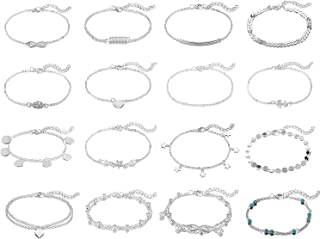 16Pcs Anklets for Women Girls Gold and Silver Ankle Bracelets Chain Set Adjustable Summer Beach Boho Foot Jewelry