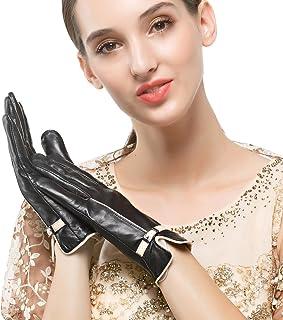 Nappaglo donne 'inverno guanti di pelle pelle d'agnello touchscreen breve caldo guanti con decorazione polso cintura