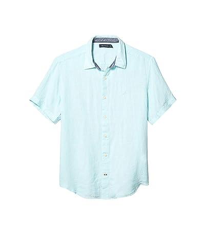 Nautica Short Sleeve Solid Linen Shirt (Blue) Men