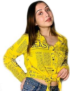 Newspaper Print Shirt Yellow