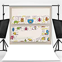Animal Vector brochure Cards Thin line Set Theme Backdrop Party Photography Background,Cute Home Pets Template of Flyer,10x10ft