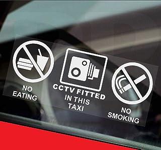 2/x taxi sticker-no smoking bianco bere mangiare furgoni CCTV in operation-car Coach segnale camion esterna rosso camion