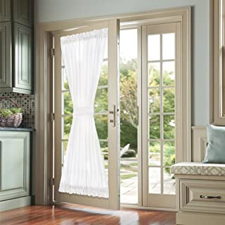 jinchan French Door Curtains White 72 Inch Privacy Casual Weave Textured Rod Pocket Drapes for Living Room Tieback Included One Panel