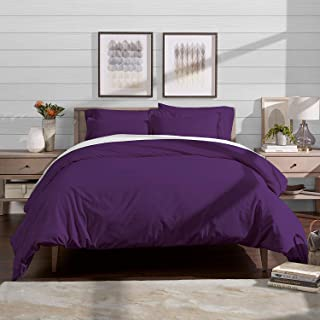SR Linen Hotel Quality 800 TC Zipper Closer 3pc Duvet Cover Set with Corner Ties, Natural Cotton, Purple Solid, Oversized (98 x 120 Inch)
