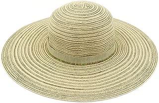 Foldable Beach Straw Hat Women Summer Seaside Big Sun Hat Sunscreen Sunshade Travel Wild Big Edge Cool Hat` TuanTuan (Color : Khaki, Size : 56-58CM)