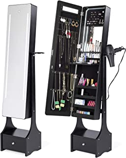 Best Choice Products Full Length LED Mirrored Jewelry Storage Organizer Cabinet w/Interior & Exterior Lights - Black