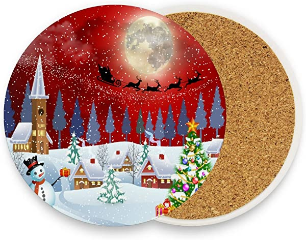 Christmas Tree Snowman Drink Coasters Mats Pack Of 4 Moon Winter Round Coaster Mat Hot Pads Non Slip For Drinks Coffee Mug Glass Cup Place Pad For Kitchen Bedroom Home Office Decor