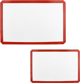Lot de 2 tapis de cuisson en Silicone, 42x29.5 cm, 30×21cm, Tapis Airmat Siliconé Aéré, Antidérapant Tapis en Extra épais,...