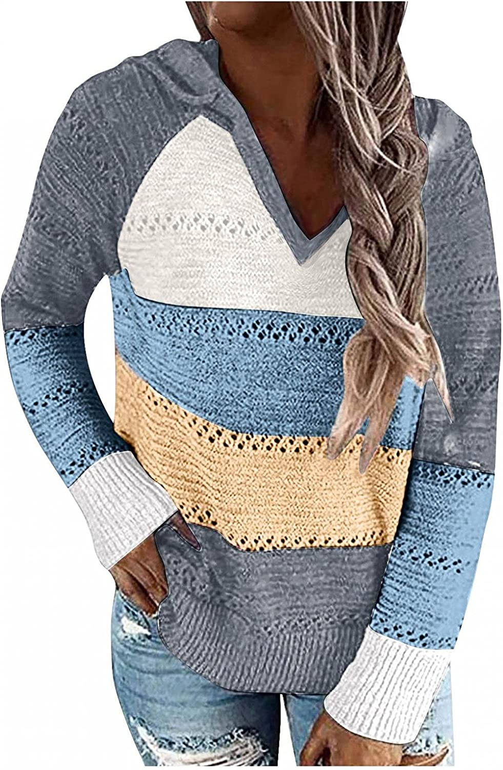 AODONG Women's Lightweight Color Block Knit Hoodies Sweaters Long Sleeve V Neck Loose Drawstring Pullover Sweatshirts