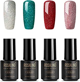 ROSALIND Esmaltes Semipermanentes de Uñas en Gel UV LED de Color Neon 4pcs Kit de Esmaltes de Brillo Uñas 7ml ( Rainbow Gel)