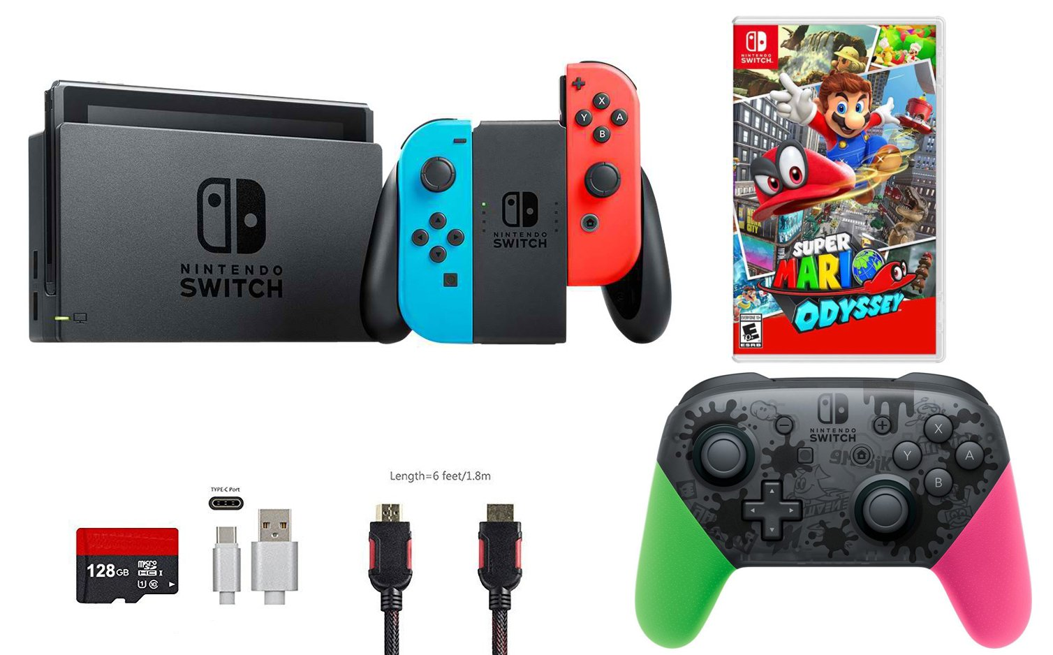 Nintendo Switch Pack (6 piezas): 32 GB Consola Neon Rojo Azul Joy-con, Nintendo Switch Pro Controller Splatoon 2 Edition, Disco de Juego Super Mario Odyssey, 128 GB Micro SD Card, Tipo C
