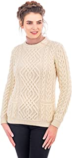SAOL 100% Irish Merino Wool Warm Cable Knit Women Crew Neck Fitted Sweater with Pockets in Grey/Natural/Navy Blue