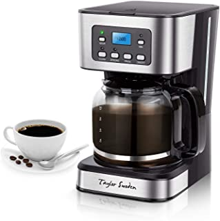 Programmable Coffee Maker, 4-12 Cups Drip Coffee Machine with Glass Carafe, Regular & Strong Brew, Pause & Serve for Home and Office, Taylor Swoden