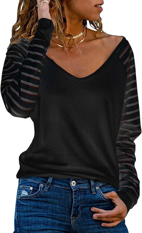 FARYSAYS Women's Casual V Neck Sheer Mesh Long Sleeve Tops Loose Blouse Shirts