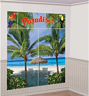 Lunarland PALM TREES Paradise SCENE SETTER Wall Decoration Birthday Party Backdrop Beach