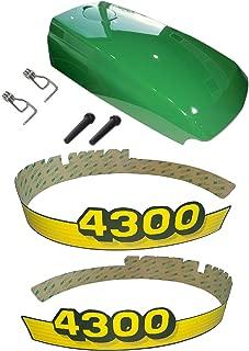 New Kumar Bros USA Upper Hood & Fuel Door with Fuel Door Mounting Hardware and LH/RH Decal Set Fits John Deere 4300