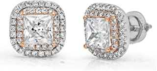2.52 ct Brilliant Princess Round Cut Double Halo Solitaire Highest Quality Moissanite & Simulated Diamond Anniversary gift Solitaire Stud Screw Back Earrings Real Solid 14k 2 tone Gold