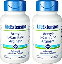Life Extension Acetyl L Carnitine Arginate Advanced Form of Carnitine For Cellular Energy and Brain Health 90 Vegetarian Capsules Pack 2