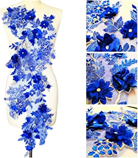 3D Long Lace Embroidery Applique Motif Sewing Rhinestone Fabrics African French Fabric for Wedding Dress (Blue, 38x102 cm)