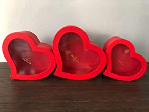 [USA-SALES] Premium Quality European Style Heart Shaped Flower Box, Floral Hat Box, Set of 3, for Luxury Style Flower Arrangements, Ships from USA (Red)