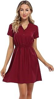 Clearlove Jurk voor dames, zomerjurk, blousejurk, korte mouwen, mini-jurk, korte V-hals, vrijetijdsjurk met knopen (verpak...