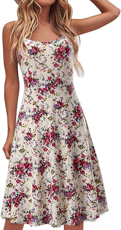 Sun Dresses Women Casual,Women's Summer Mini Dress Sleeveless V Neck Loose Fit Short Boho Beach Sexy Short Dress